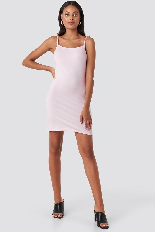 Tie Strap Jersey Mini Dress Outfit.