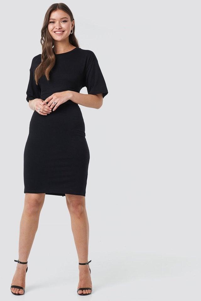 Black Wrapped Detail Jersey Dress