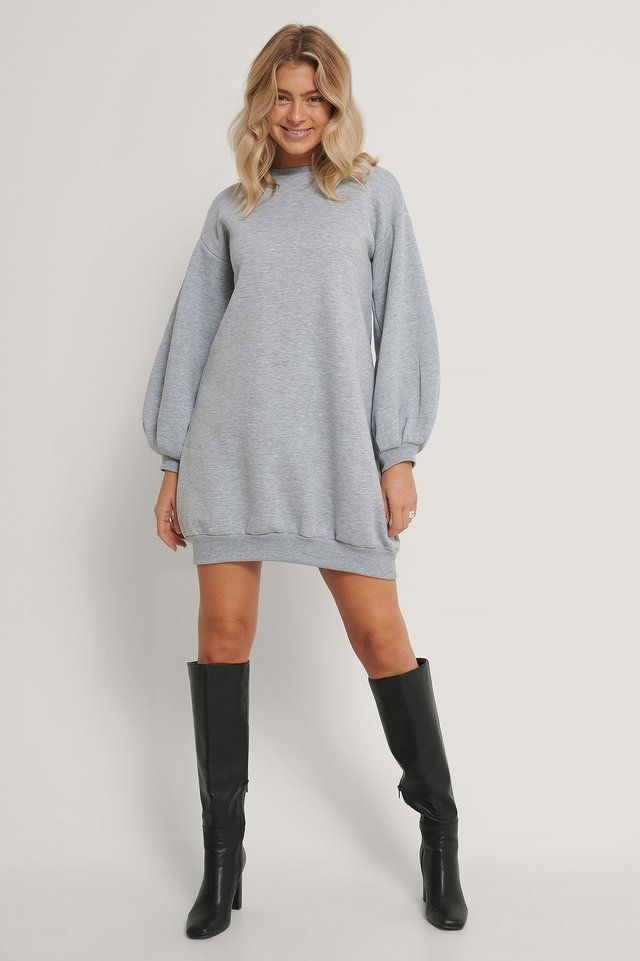Balloon Sleeve Sweater Dress Outfit.