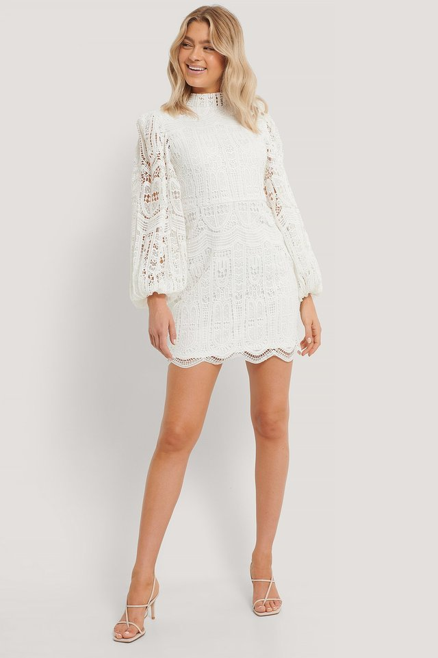 Balloon Sleeve High Neck Lace Dress Outfit.