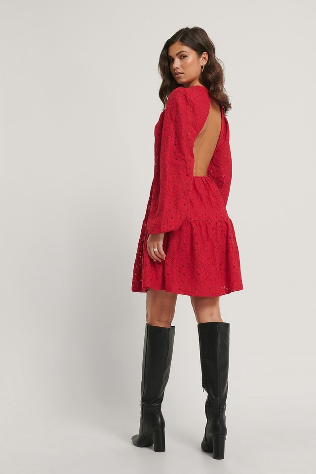 Open Back Balloon Sleeve Dress Outfit.