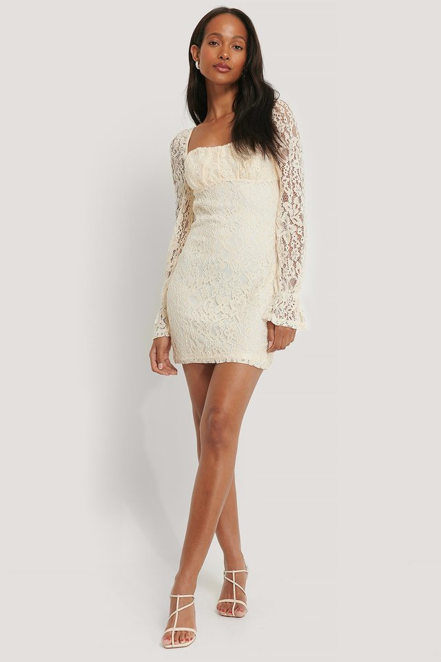 Ruched Mini Lace Dress Outfit.