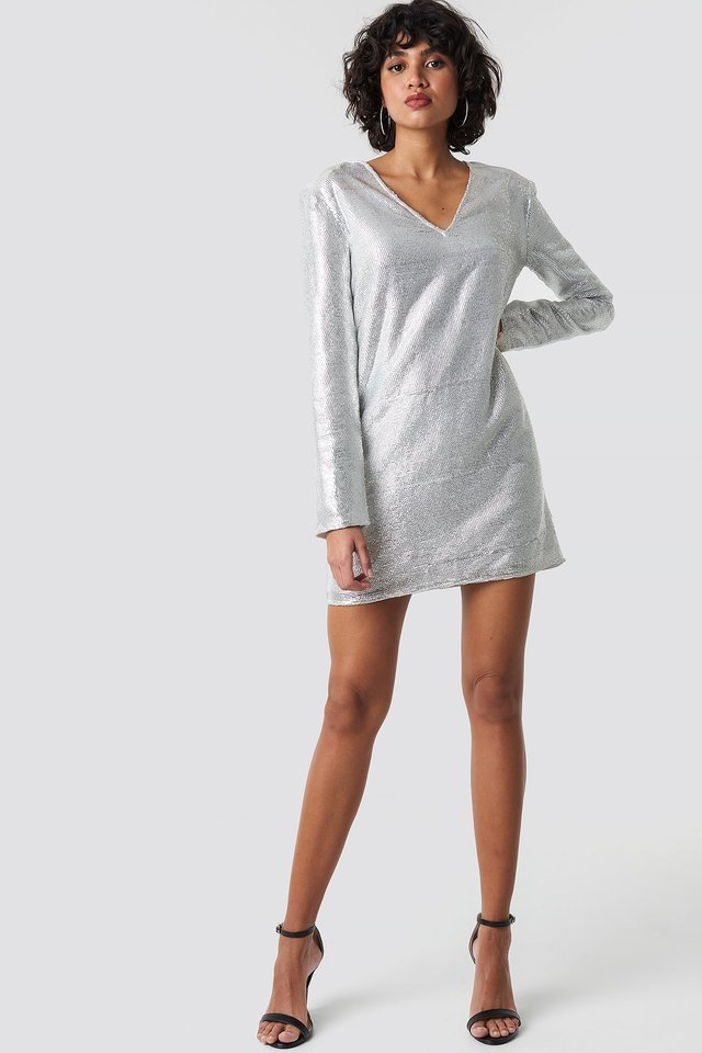 Square Shoulder Sequins Dress Outfit.