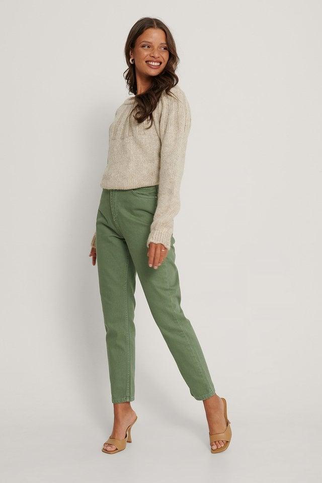 High Waist Mom Jeans Green.
