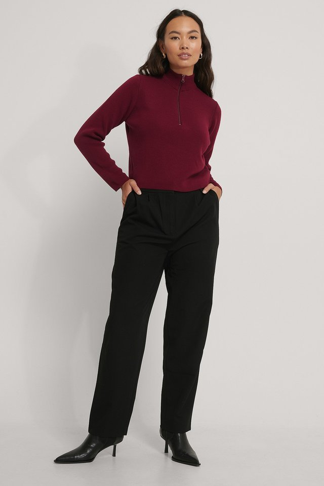 Cropped Zip Detail Knitted Sweater Outfit.