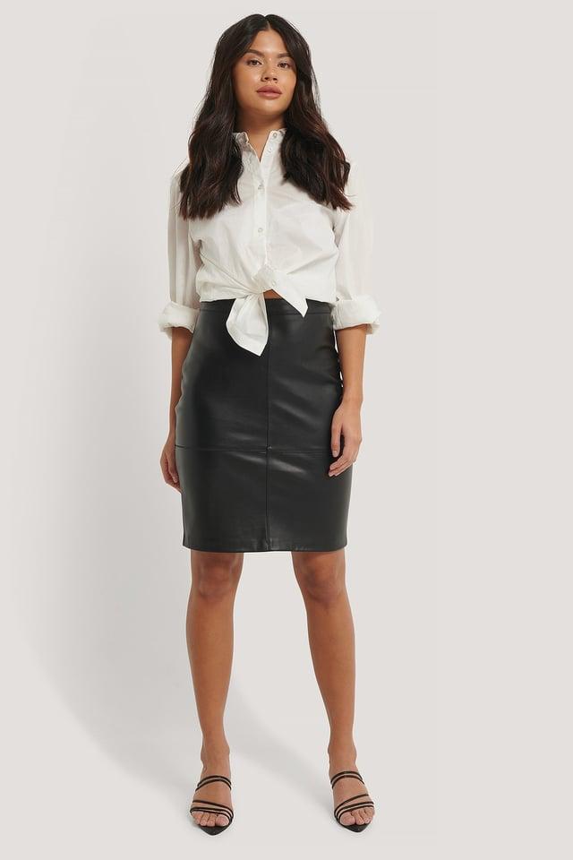 Seam Detail PU Skirt Outfit.