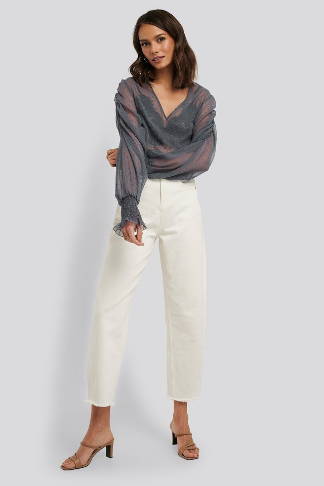 Shirred Dobby Blouse Outfit.