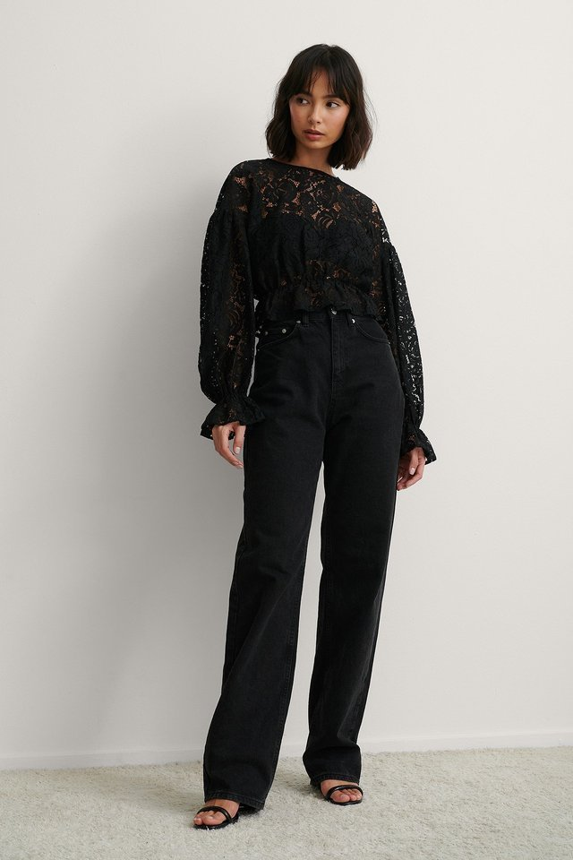Balloon Sleeve Lace Blouse Outfit.