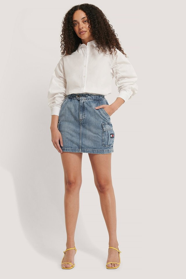 Denim Cargo Skirt Outfit.