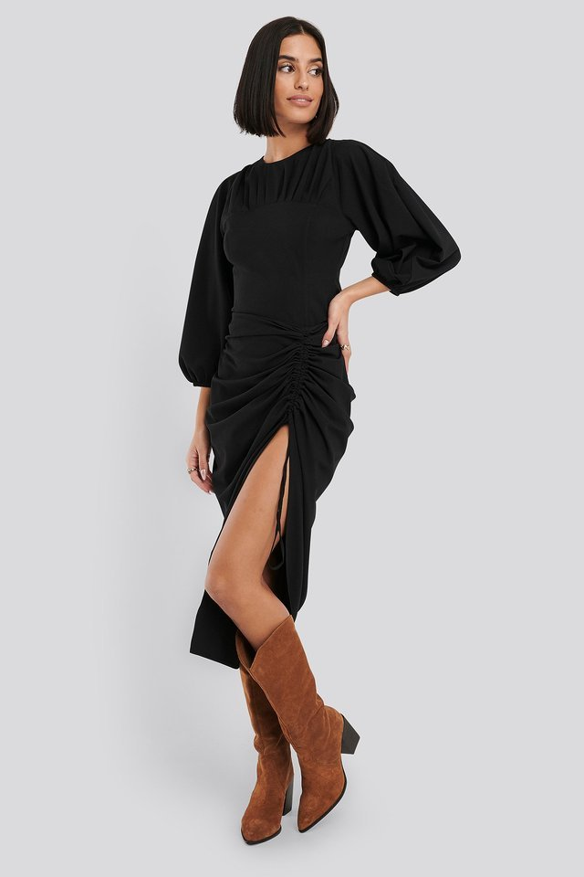 Puff Sleeve Gathered Neck Blouse Outfit.