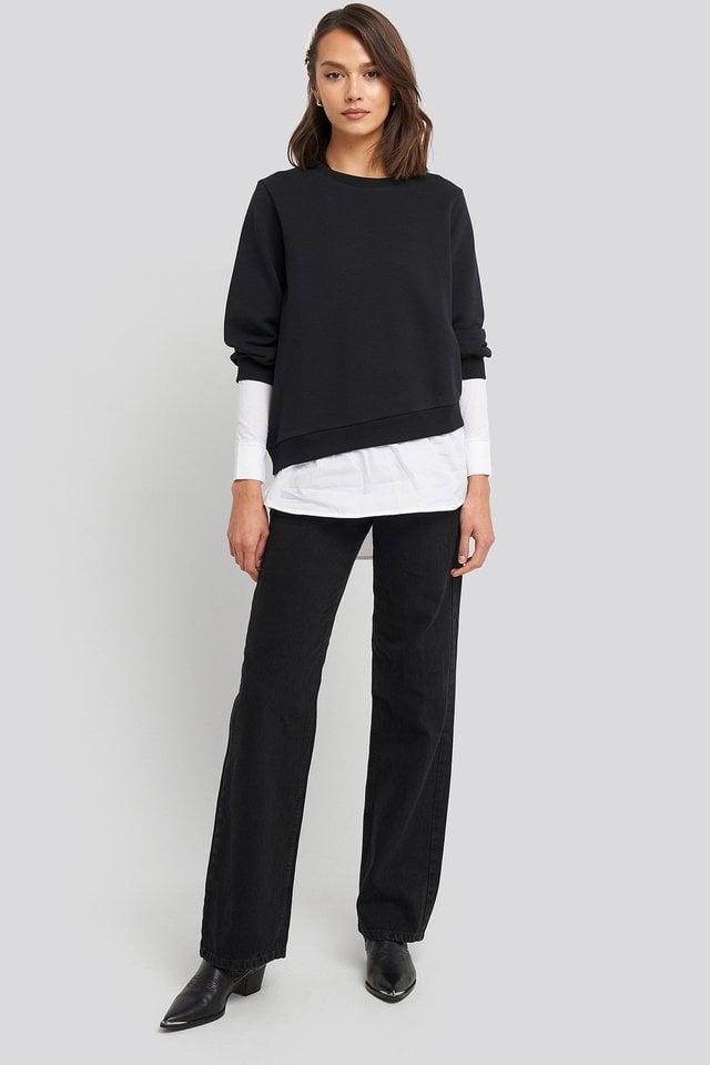 Contrast Shirt Hem Sweater Outfit.