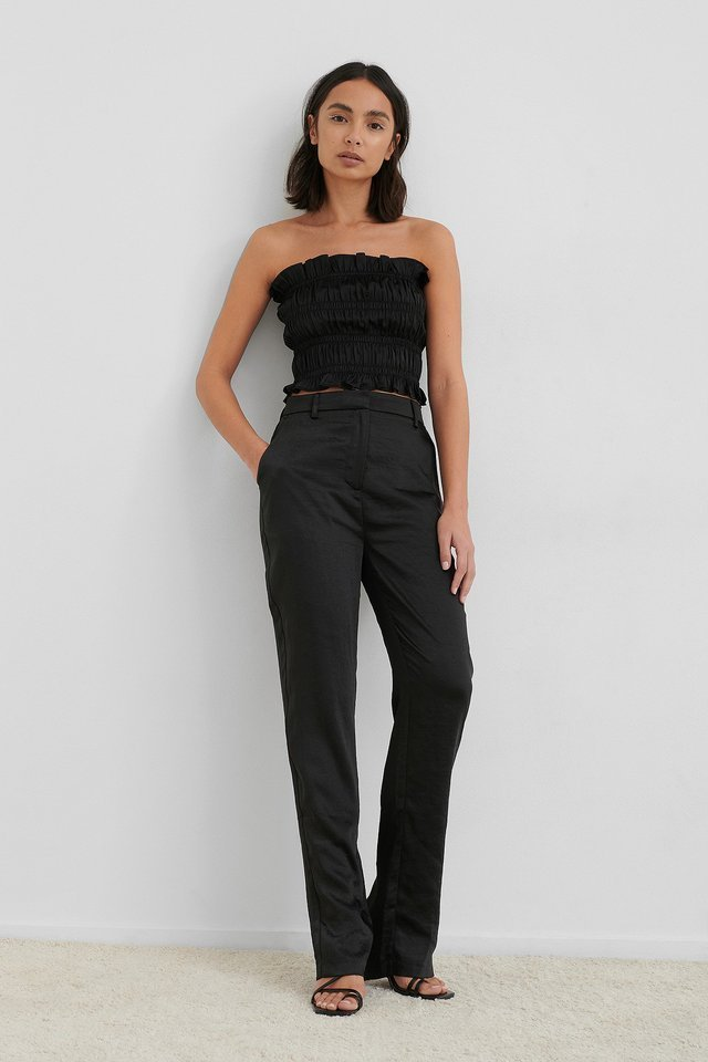 Split Back Straight Pants Outfit.