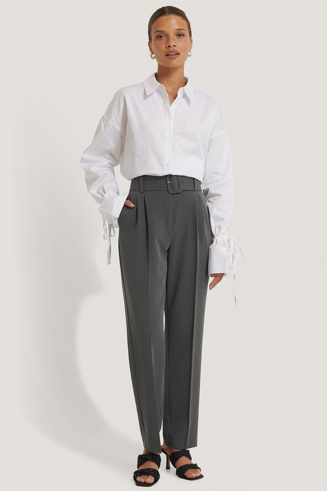 Recycled Belted Suit Pants Outfit.