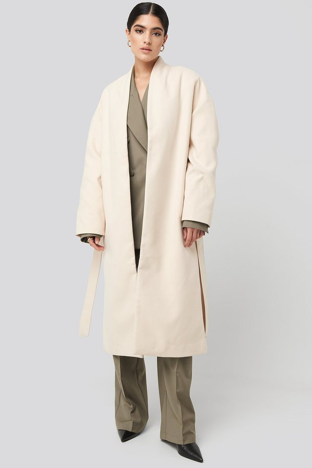 Classic Long Coat White Outfit.