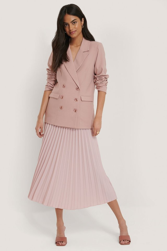 Straight Double Button Blazer Outfit.