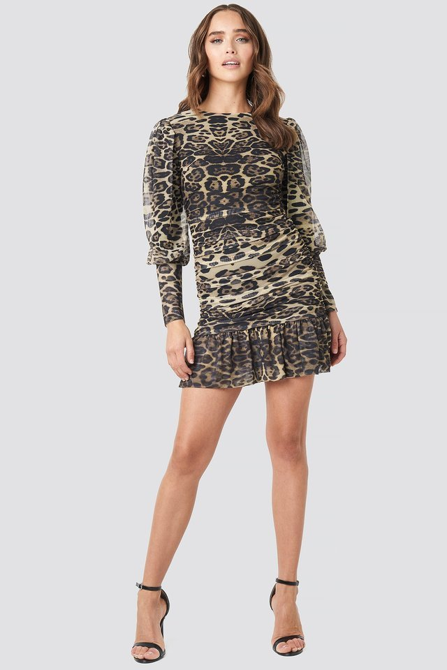 Multicolor Leopard Drape Detailed Dress