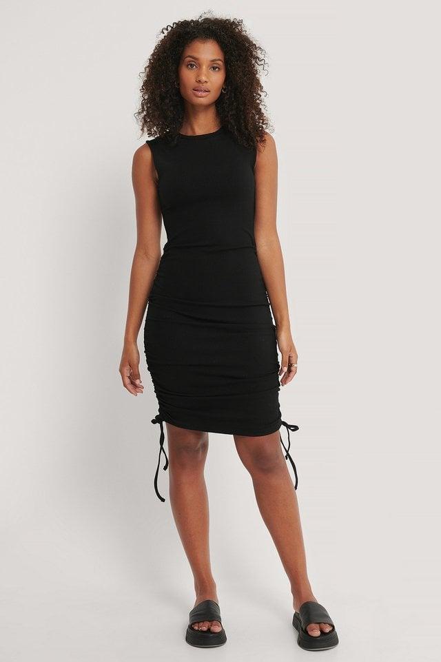 Sleeveless Drawstring Dress Outfit.