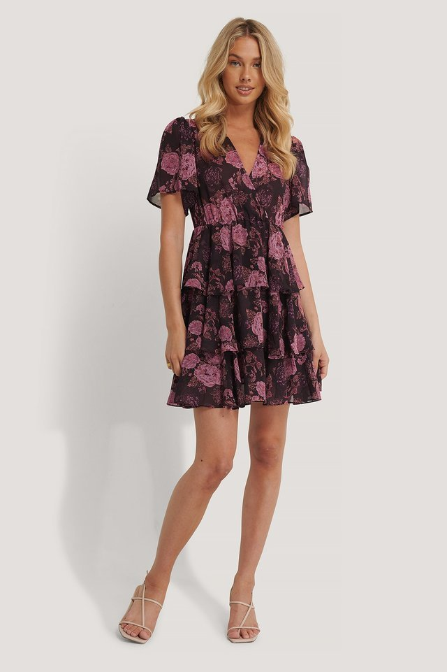 Triple Layer Flounce Dress Outfit.