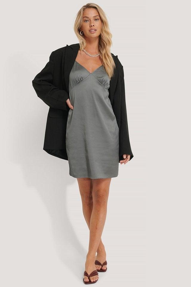 Satin Cup Shape Mini Dress Outfit.
