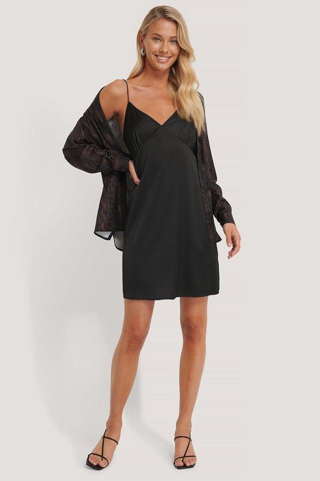 Black Mini Robe Satin