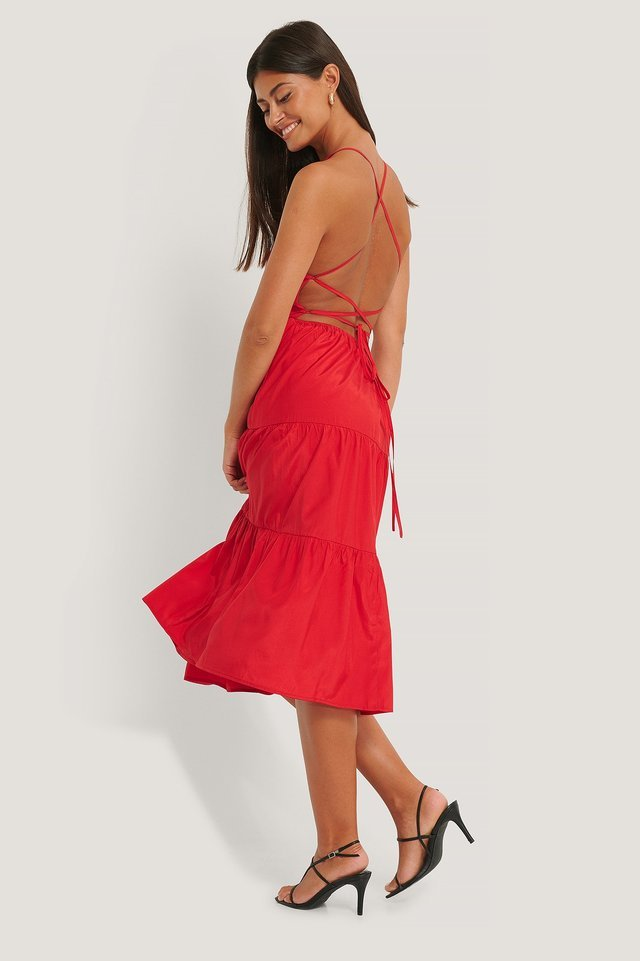 Open Back Flounce Dress Outfit.