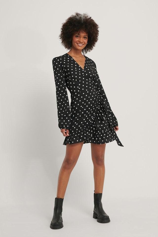 Wrapped Flounce Mini Dress Outfit.