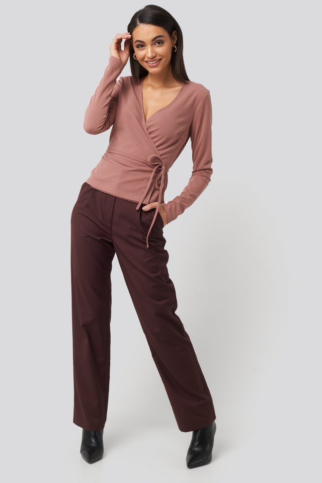 Wrap Over Long Sleeve Top Outfit.