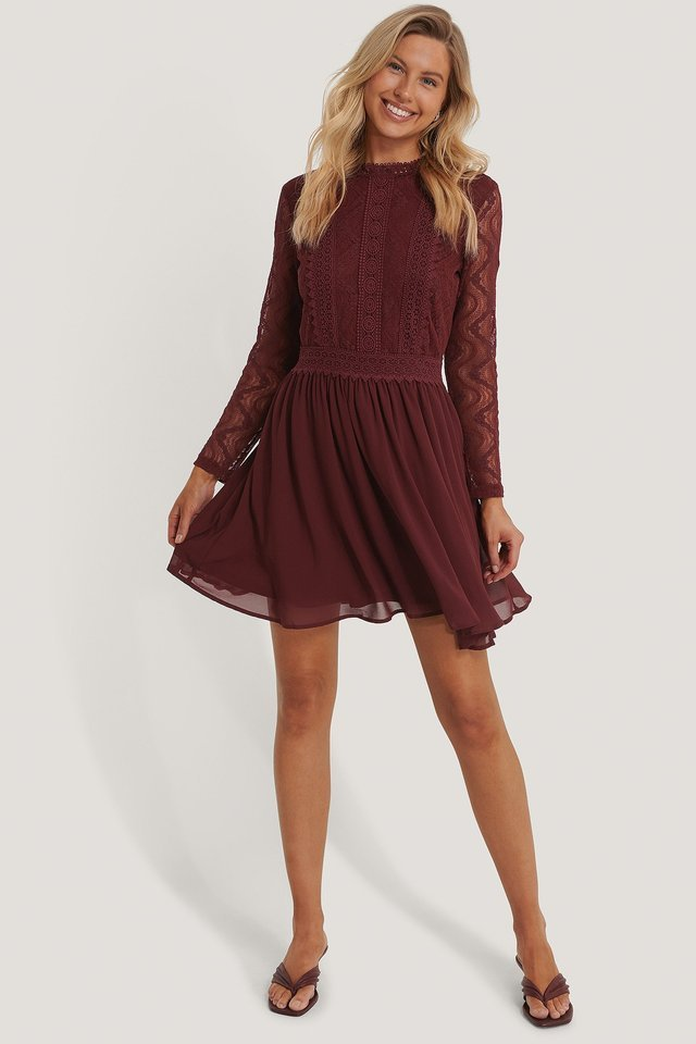 Lace Anglaise LS Mini Dress Outfit.