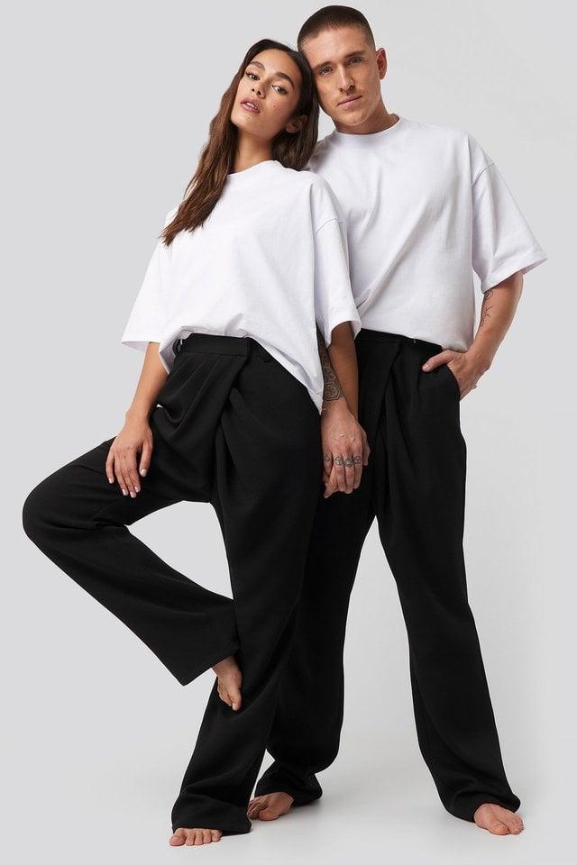 Assymmetric Closure Pants Outfit.