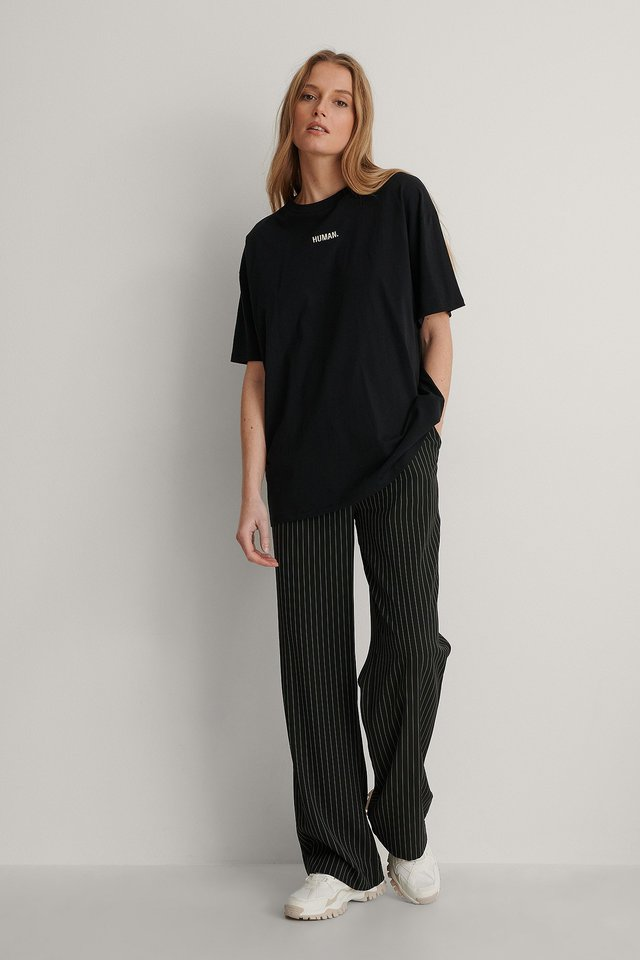 Human Embroidery Print Tee Outfit.