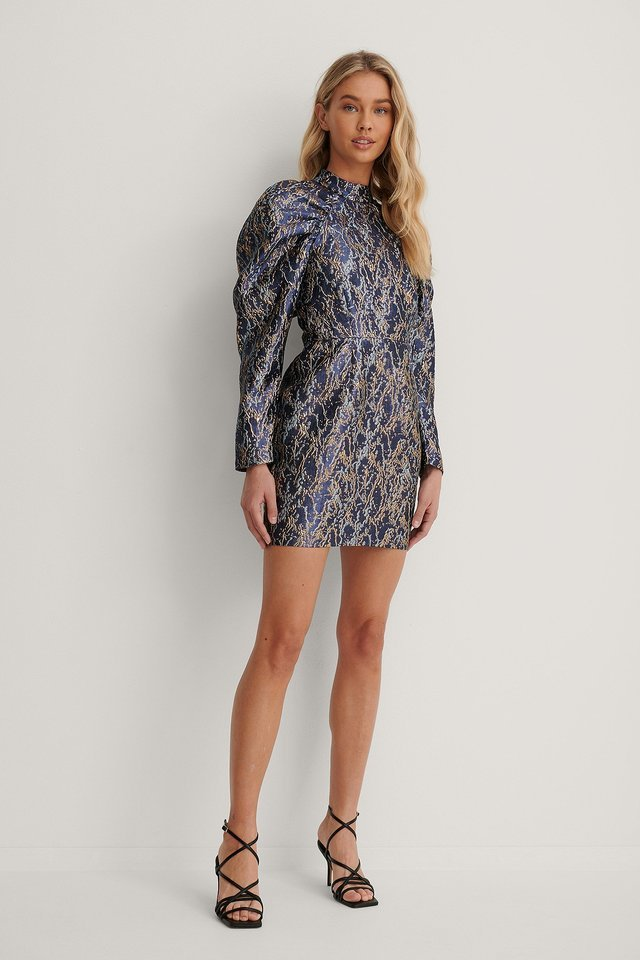 Puffy Sleeve Pattern Mini Dress Outfit.