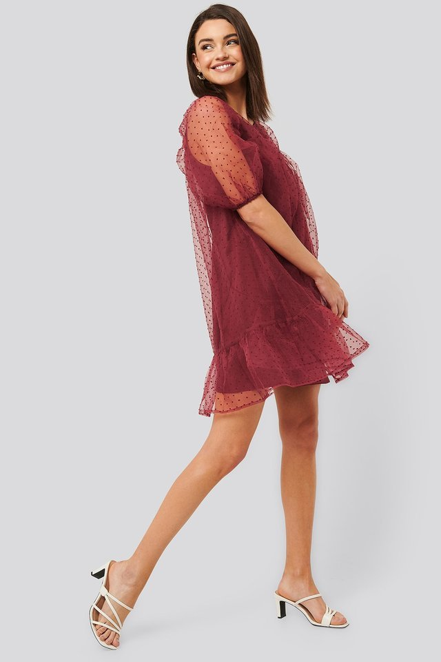 Dobby Organza Mini Dress Outfit.