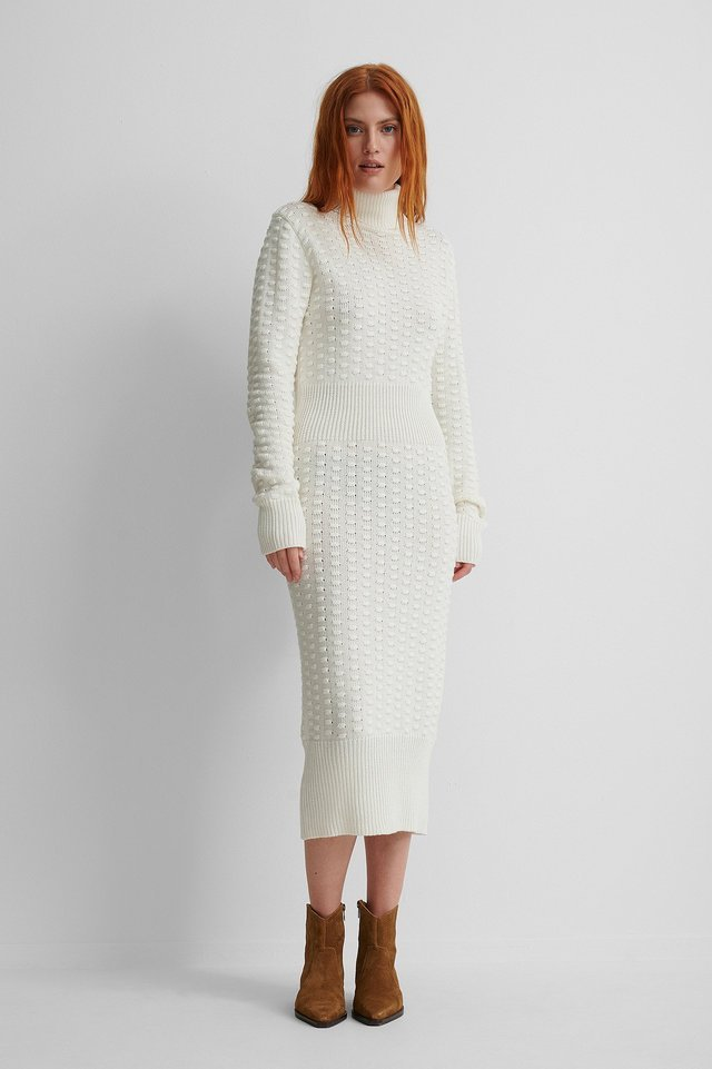 High Neck Knitted Dress Outfit.