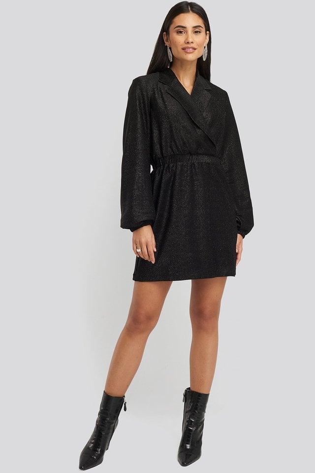 Sparkling Blazer Dress Outfit.