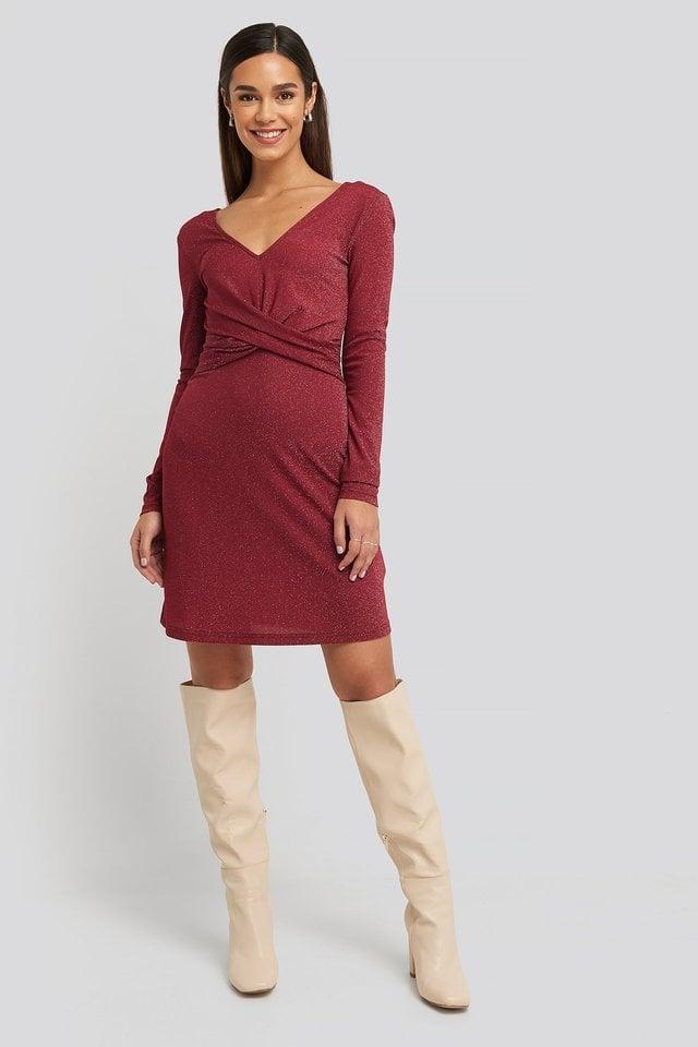 Glittery V-neck Dress Outfit.