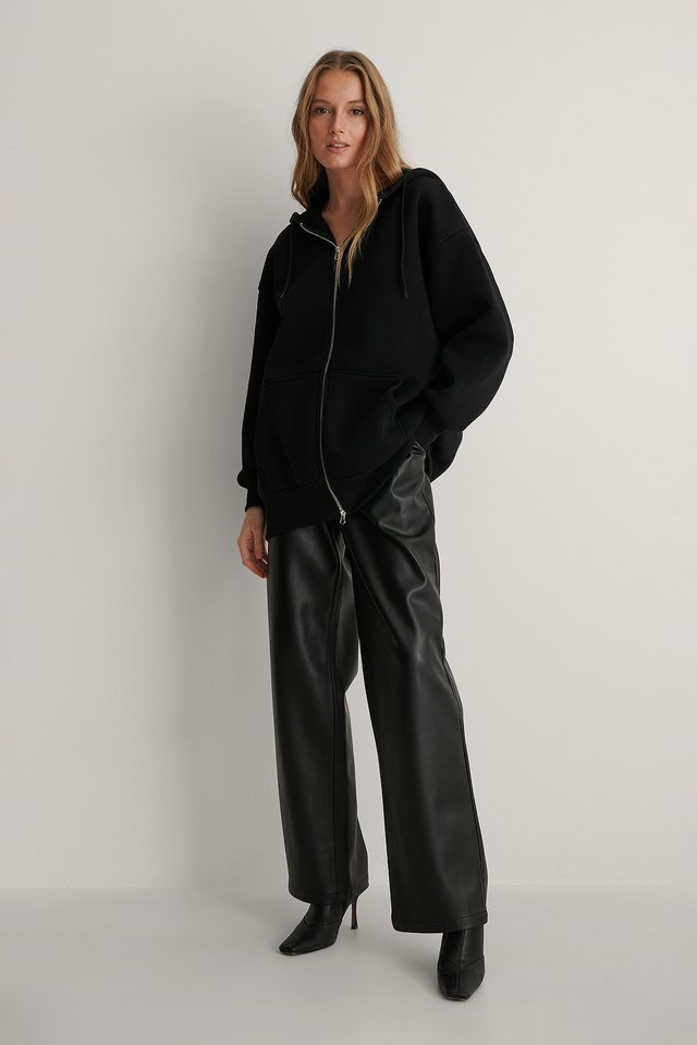 Oversized Zip Detail Hoodie Outfit.