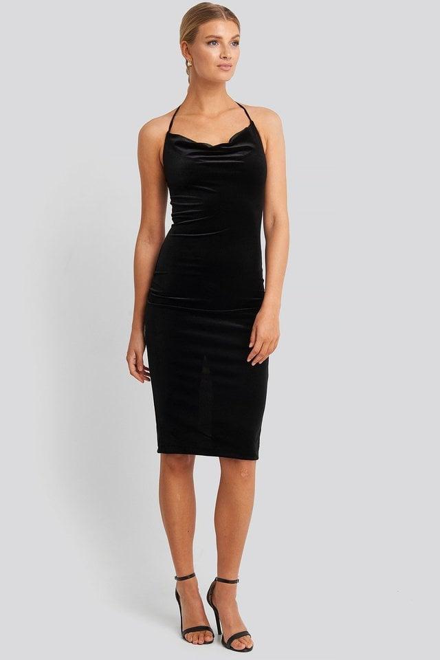 Strap Neck Midi Dress Outfit.