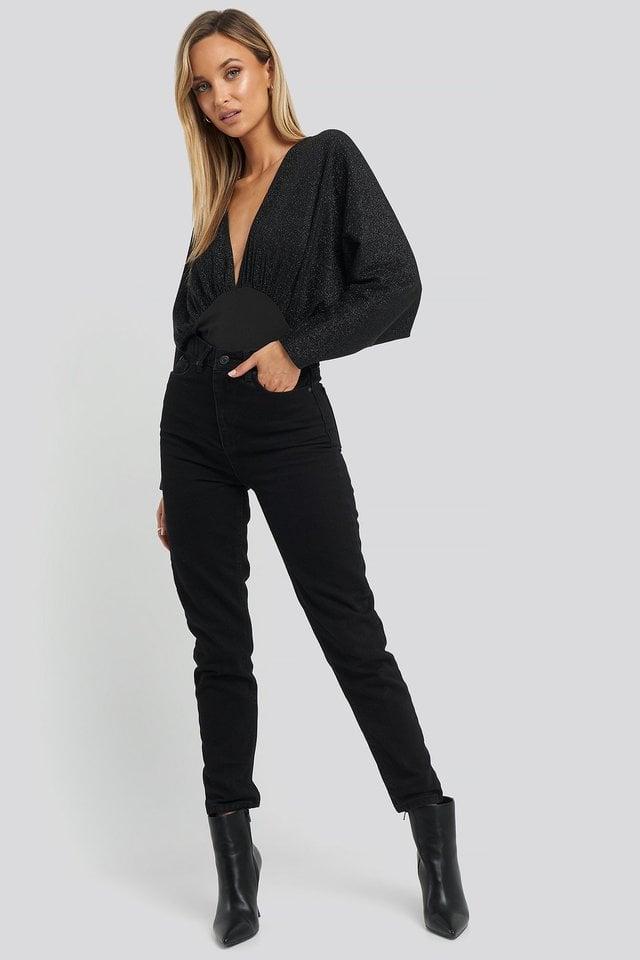 Open Back Plunge Neck Lurex Bodysuit Outfit.