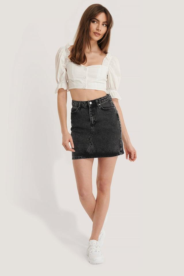 Basic Denim Skirt Outfit.