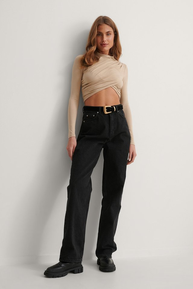 Cropped Pleated Top Outfit.