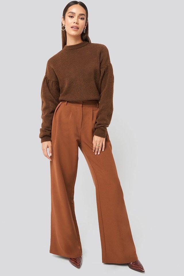 Brown Drop Shoulder Pullover