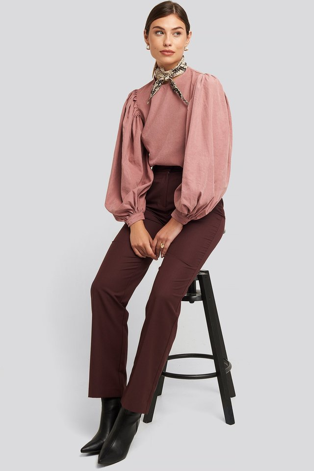 Puff Sleeve Round Neck Top Outfit.
