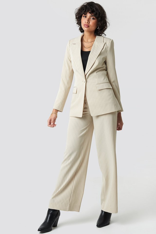 Pinstriped Fitted Blazer Outfit.