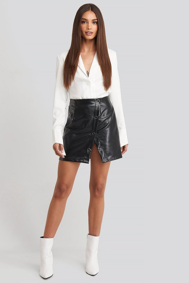 Buttoned Wrap Skirt Outfit.
