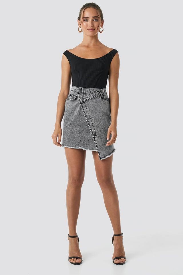 Black Assymetric Closure Denim Skirt