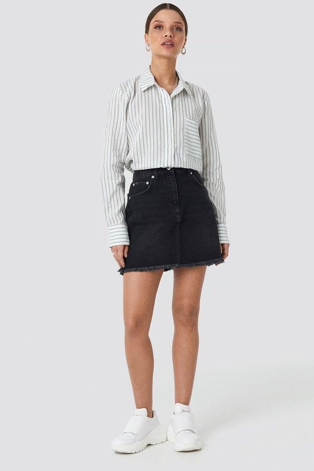 Light Blue High Waist Raw Hem Denim Skirt