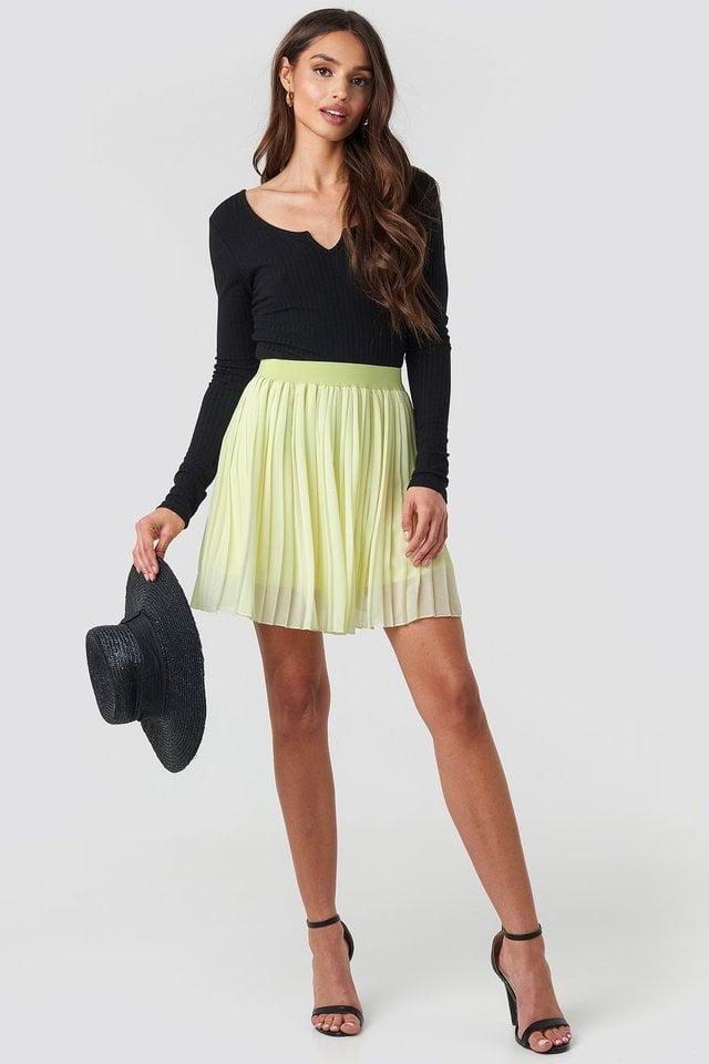 Pale Yellow Mini Pleated Skirt
