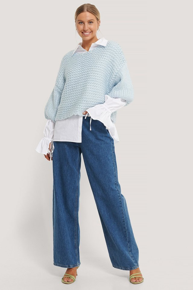 Heavy Knitted Short Sleeve Sweater Outfit.