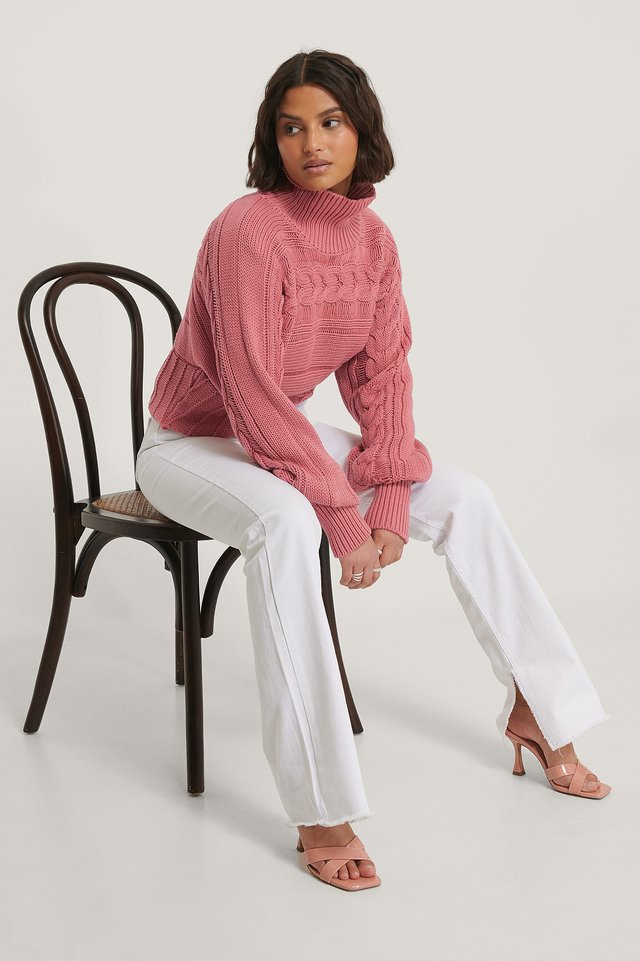 High Neck Cable Detail Knitted Sweater Outfit.