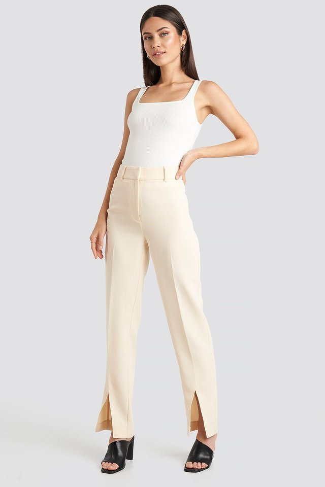 Front Slit Suit Trousers Outfit.